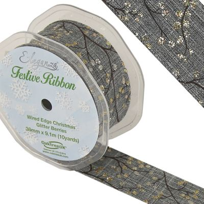 Christmas Glitter Ribbon Grey/Gold