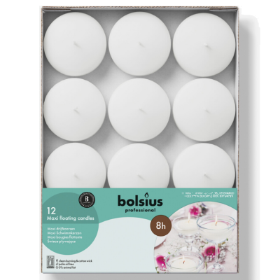 BOLSIUS PROFESSIONAL MAXI FLOATING CANDLES 12 PACK WHITE