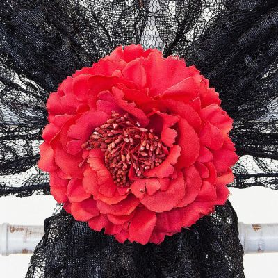 Vintage Flower Clips - Red