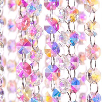 Glass Crystal Garland Strand 14MM X 1M - Iridescent