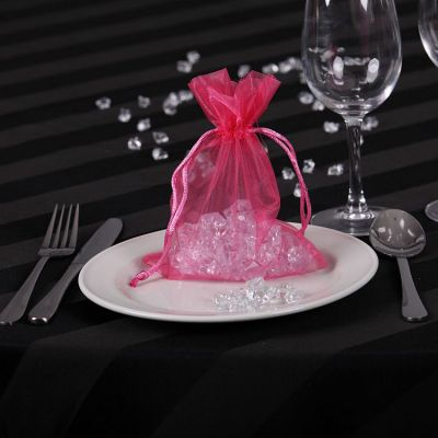 Sheer Organza Favour Bags - Hot Pink