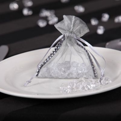 Organza Favour Bag with Diamante - Silver