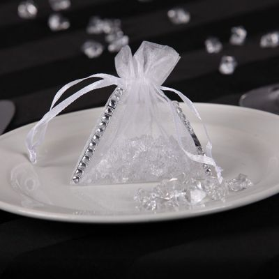 Organza Favour Bag with Diamante - White
