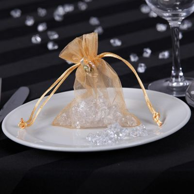 Organza Favour Bags with Rose Buds - Gold