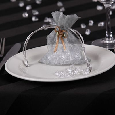Organza Favour Bags with Rose Buds - Silver