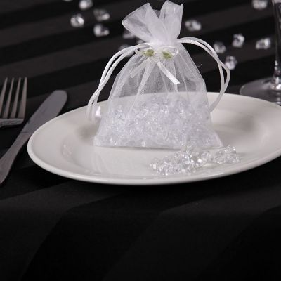 Organza Favour Bags with Rose Buds - White
