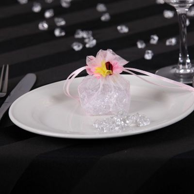 Floral Organza Favour Bags - Pink