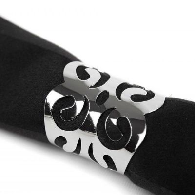 Metal Napkin Rings with Cut Out Silver - 6 Pack