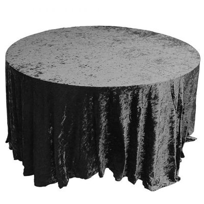 Crushed Velvet Table Cloths 132 Round - Black