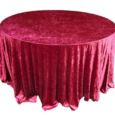 Crushed Velvet Table Cloths 132 Round - Garnet
