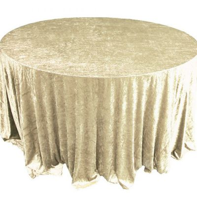 Crushed Velvet Table Cloths 132 Round - Gold