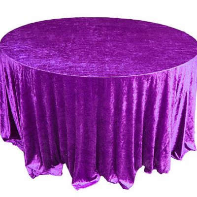 Crushed Velvet Table Cloths 132 Round - Purple