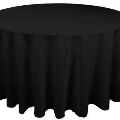 Table Cloth Spun Poly 132 Round - Black