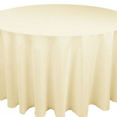 Table Cloth Spun Poly 132 Round - Ivory