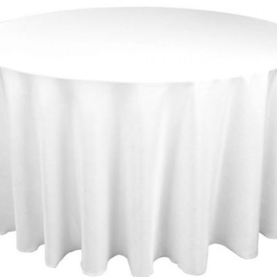 Table Cloth Spun Poly 132 Round - White