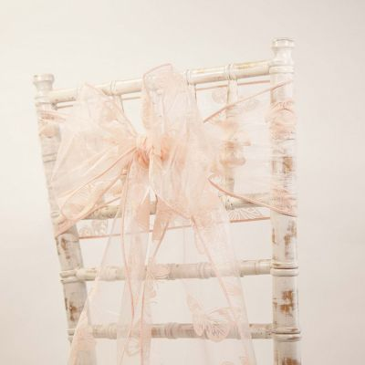 Organza Butterfly Sash - Pale Pink