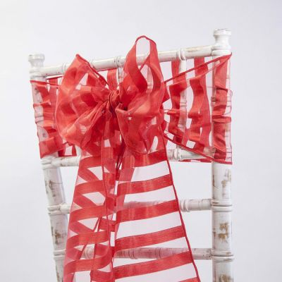 Vertical Striped Organza Sashes - Red