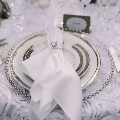 Charger Plate Clear Glass - Silver Beads