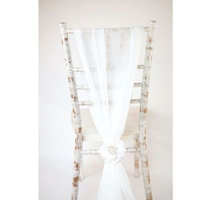 Chiffon Vertical Drops - White