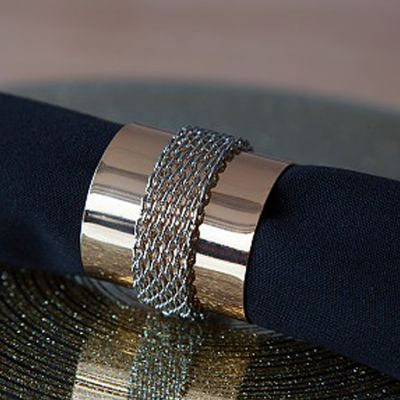 Metal Napkin Rings with Chain Gold/Silver - 6 Pack
