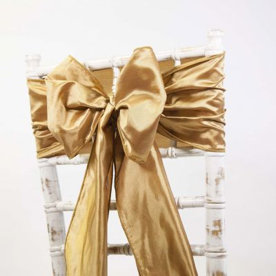 Taffeta Sash - Burnt Orange/Gold