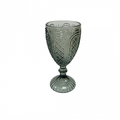 VINTAGE PRESSED GOBLET GLASS SMOKED