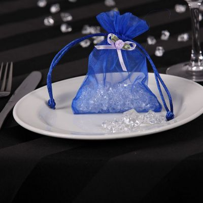 Organza Favour Bags with Rose Bud - Blue