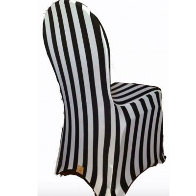 Print Lycra Chair Cover - Striped