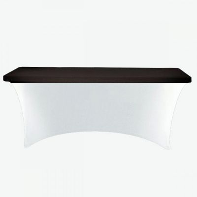Spandex Lycra 6ft Rectangle Table Cloth Topper - Black