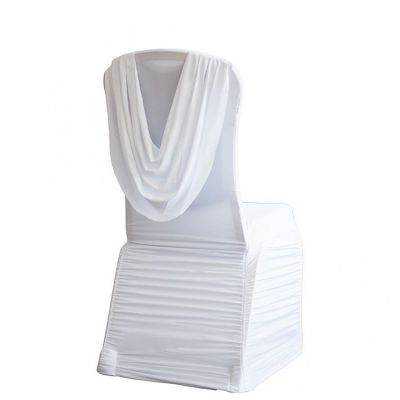 Spandex Ruched Swag Back Chair Cover - White