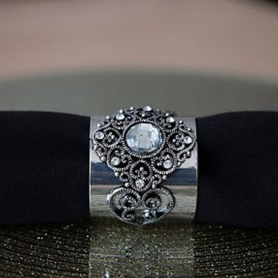 Antique Jubilee Napkin Rings Silver - 6 Pack