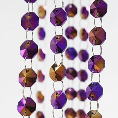 Glass Crystal Strand 14MM x 1M - Purple/Gold