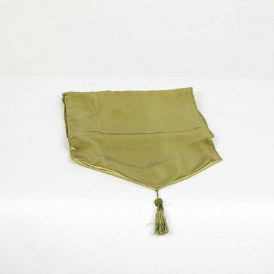 Satin Table Runner with Tassel - Olive
