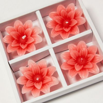 Floating Lotus Candles 4 Pack - Coral