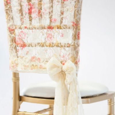 Lace Chair Cap - Vintage Rose Print