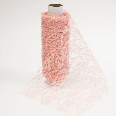Lace Netting On Roll 15cm x 10m - Vintage Pink
