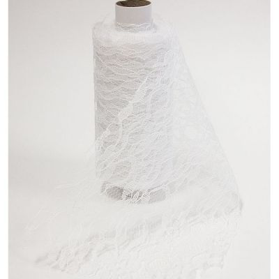 Lace Netting On Roll 15cm x 10m - White