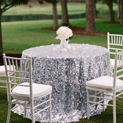 Sequin 120 Table Cloth - Silver