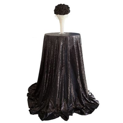 Sequin 120 Table Cloth - Black