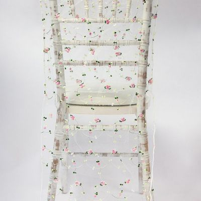 Floral Embroidered Organza Full Length Chair Cap