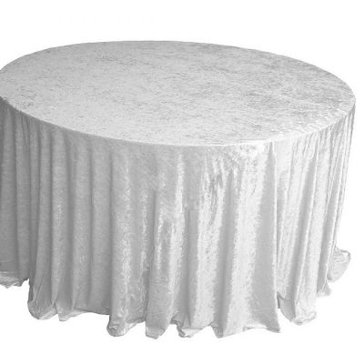 Crushed Velvet Table Cloths 132 Round - White