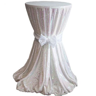 Sequin 132 Table Cloth - White Iridescent