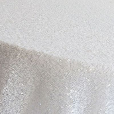 Sequin 70x144 Table Cloth - White