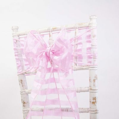 Vertical Striped Organza Sashes - Pink