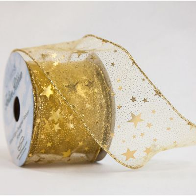 Gold Star Wired Organza Ribbon