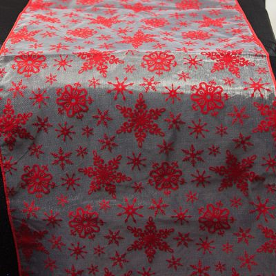 Xmas Flock Red/White Snowflake Runner 14 x 108