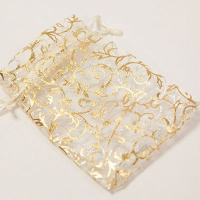 Foiled Ivy Design Favour Bags 50 Pack - Cream