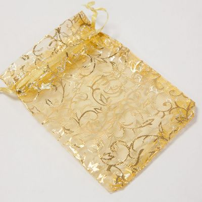 Foiled Ivy Design Favour Bags 50 Pack - Gold
