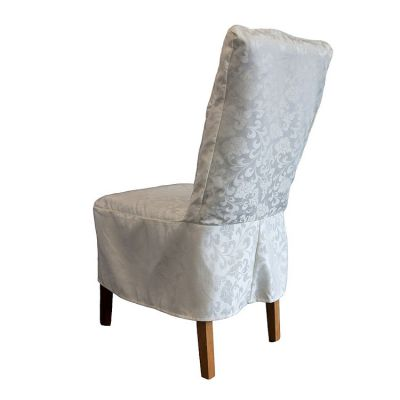 Short Damask Dining Chair Cover RJ13 - Ivory