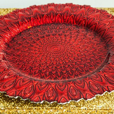 Charger Plate Glass Peacock Design - Red